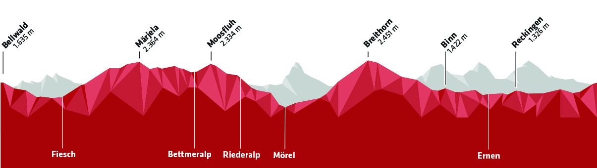 Stoneman Glaciara Höhenprofil Mountainbike (Wallis Goms/Schweiz)